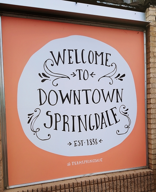 Springdale window mural welcome