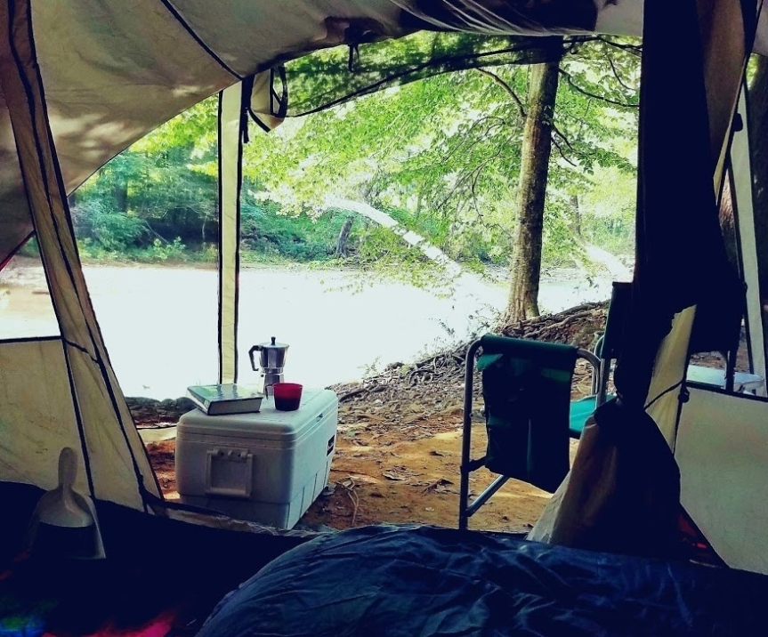 River viewed from a tent